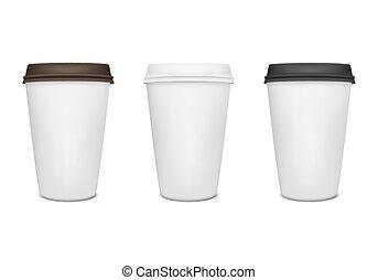 papel, taza para café, conjunto