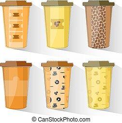 papel, tazas de café, conjunto, colorido, tazas, con, textura, en, plano, design.
