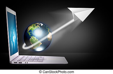 papel, terra, laptop, avião