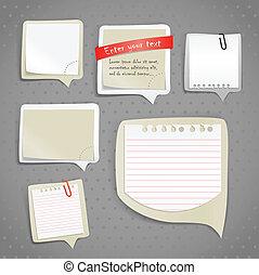 papel, texto, bolhas, clip-art
