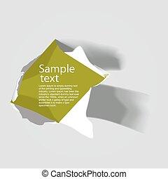 papel, texto, rasgado, realístico, espaço