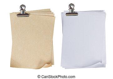 papel, unido, clip