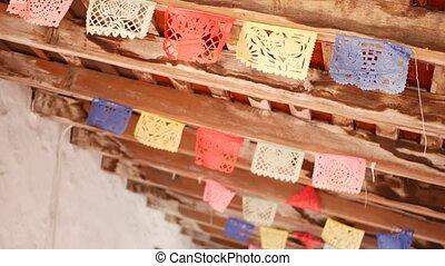 papel, vacances, drapeaux, mexicain, décoration, hispanique, latin, picado, authentique, tissu, coloré, découpé, fête, ou, papier, coloré, festival, perforé, coloré, garland., amérique, carnival., folklorique, bannière, multi