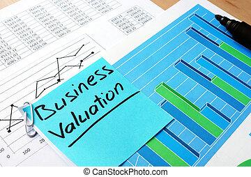 papel, valuation., palabras, empresa / negocio, pedazo