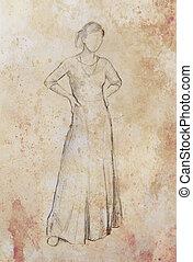 papel, vestido, idade, místico, meio, esboço, sepia, color., desenho, bonito, estrutura, ornamental, mulher, inspirado, vindima