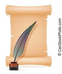 papel, vetorial, antigas, scroll, ilustração