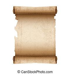 papel, vetorial, scroll, antiga