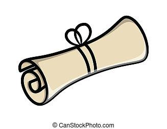 papel, vetorial, scroll, pergaminho