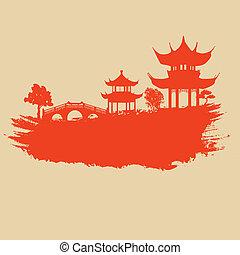 papel, viejo, asiático, paisaje