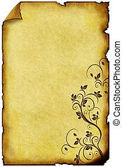 papel, viejo, plano de fondo, ornamentos