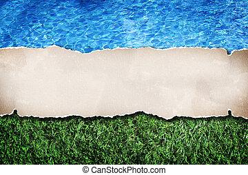 papel, vindima, água, madeira, fundo, em branco