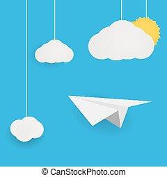 papel, voando, céu, avião