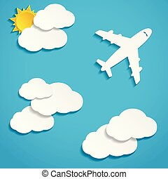 papel, voando, céu, aviões