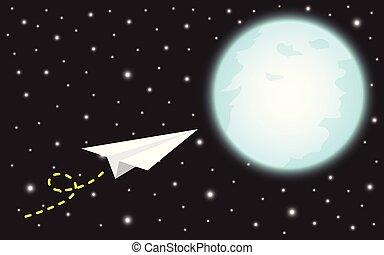 papel, voando, foguete, lua