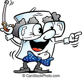 papel, vovô, caricatura, mascote