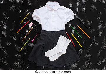 papelaria, camisa, materiais, saia, pretas, novo, year., setembro, branca, cinzento, experiência., escola, primeiro