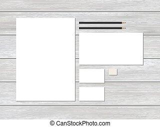 papelaria, giga, wood., negócio, modelo