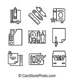 papelaria, jogo, escritório, ícone