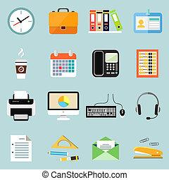 papelaria, jogo, escritório negócio, ícones