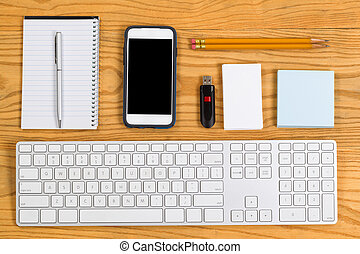 papelaria, organizado, ferramentas, diariamente, trabalho, desktop