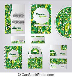 papelaria, verde, desenho, modelo
