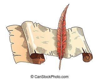 papelaria, vindima, escrita, trabalho, retro, books., poesia, quill., educação, antigas, ou, pergaminho, scroll papel, antigüidade, paper., vetorial