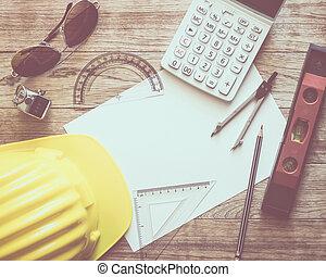 papeleo, con, escritura, materiales, para, arquitectura, en, tabla