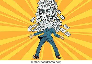 papeleo, montaña, hombre de negocios, burocracia
