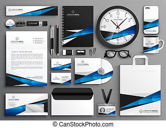 papelería, colateral, conjunto, completo, empresa / negocio