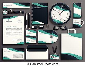papelería, colateral, moderno, conjunto, empresa / negocio