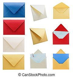 papelería, colección, 1, envelopes.