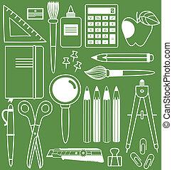 papelería, conjunto, de, diferente, artículos de la escuela,...