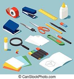 papelería, conjunto, herramientas