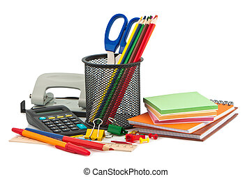 papelería, conjunto, items.