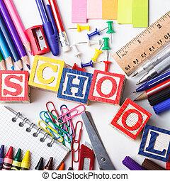 papelería, escuela, primario