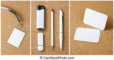 papelería, fondo., blanco, corkboard, colección