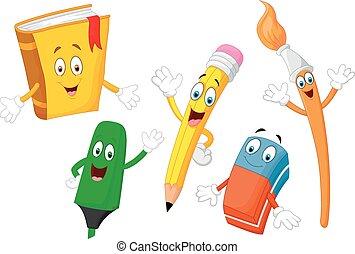 papelería, lindo, caricatura, niño