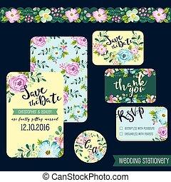 papelería, primavera, flor, boda