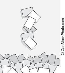papeles, caer, pila