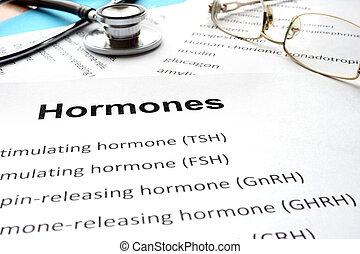 papeles, lista, hormonas