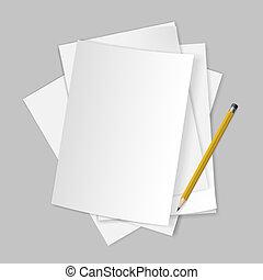 papeles, pencil.