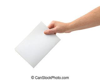 papeleta, mano