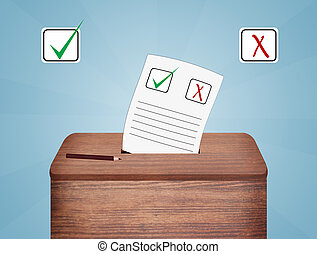 papeleta, voto, caja