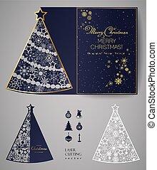 paper., 切られた正方形, カード, 招待, レーザー, パーティー, 木, 切抜き, クリスマス, テンプレート