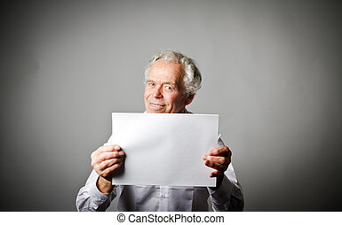 paper., 古い, 白, 保有物, 人