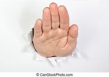 paper., 挨拶, 手, によって, 穴, 白