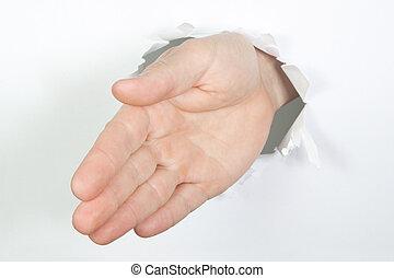 paper., 歓迎, によって, 穴, 手