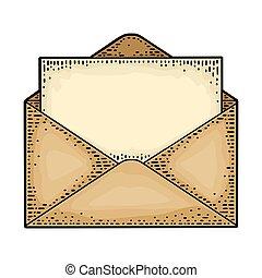 paper., 開いた, 彫版, 黒, 型, 封筒, ベクトル, ブランク