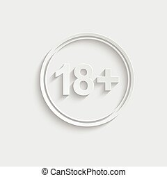 Paper 18 plus icon. black vector 18 plus sign