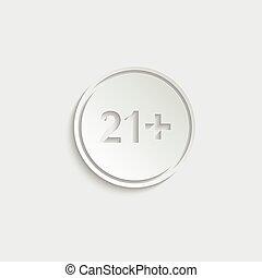 paper 21 plus icon. black vector 21 + plus sign